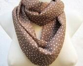 infinity scarf,Loop scarf,Brown Chiffon,Polka Dot,Women scarf