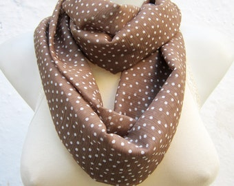 infinity scarf, Loop Scarves, Brown Chiffon, Polka Dot, Circle Necklace, Neckwarmer, Tube Accessories, Autumn, Women scarf