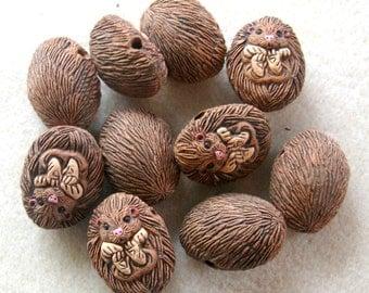 Peruvian Ceramics Brown Hedge Hog  Pendant Bead Craft Supplies Jewelry Making Bead Supplies Ceramic Beads (2)