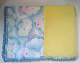 Bedtime Sleepy Clouds Stars Pastel Rainbow Print Yellow Panel Soft Flannel Receiving or Nursing Blanket for Baby with Blue Crocheted Edge