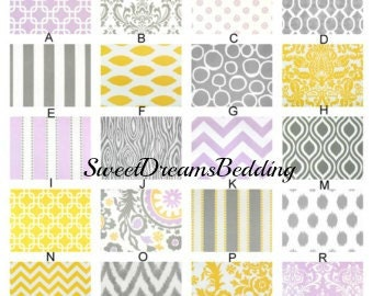 Custom Crib Bedding You Design   Bumper and Bedskirt in Lilac Gray and Yellow