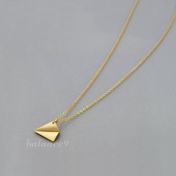 Paper plane necklace, Airplane necklace, delicate long chain, small charm pendant, gold / silver, gift, everyday jewelry by balance9