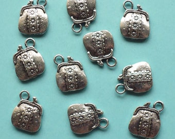 SALE, Purse HANDBAG bag Charms x 10, antique silver tone, charm, UK seller, reduced, was 2.20, now only 1 pound while stocks last