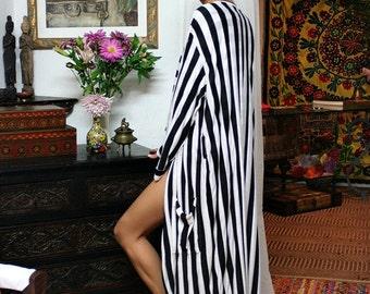 Black and White Stripe Robe Honeymoon Bridal Lingerie Sleepwear Loungewear Sarafina Dreams Cruise