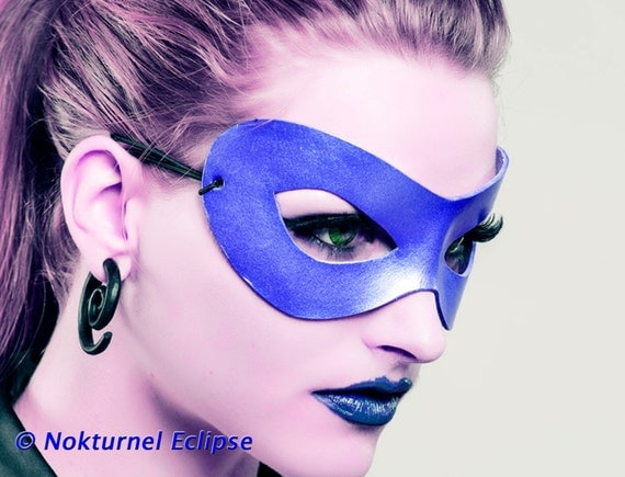 Blue Superhero Adult Leather Mask by Nokturnel Eclipse Handcrafted Masquerade Batman Halloween Comic Con Dragoncon Cosplay UNISEX
