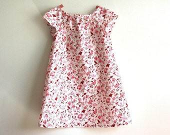 girls dress in organic cotton / size 2T / floral and folk