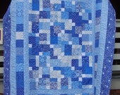 Blue and White Quilt Full Size Bedding Moda Spa