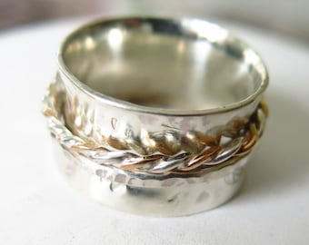 Spinner Ring Sterling Silver Wide Band to Order, any Size