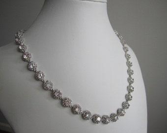 Wedding bridal Cubic zironia necklace, cz wedding necklace, wedding necklace, bridal necklace, rhinestone necklace, crystal necklace