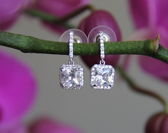Sparkle filled cz earrings, cubic zirconia earrings, wedding jewelry, bridal jewelry, wedding earrings, bridal earrings, bridesmaid earrings