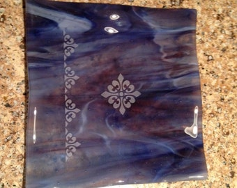 Fused Glass, Etched, Trinket Dish, Blue Streaky PL22052