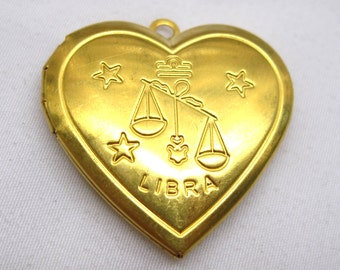 1pc Libra Zodiac Charm Heart Photo Locket Necklace Pendant 29mm Brass Findings p032