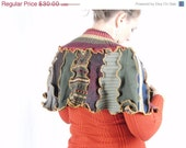 ON SALE Upcycled sweater poncho, rust and sage