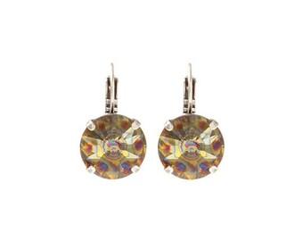 Limited edition Swarovski crystal rivoli earrings 'peacock eye' - peacock wedding earrings - crystal bridal earrings or bridesmaids gift