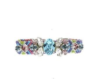 Swarovski crystal bracelet - embroidered turquoise blue friendship bracelet or anklet - beach anklet - rhinestone bracelet - hippie jewelry