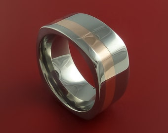 14k Rose Gold and Titanium Ring Square Band Bold Modern Style