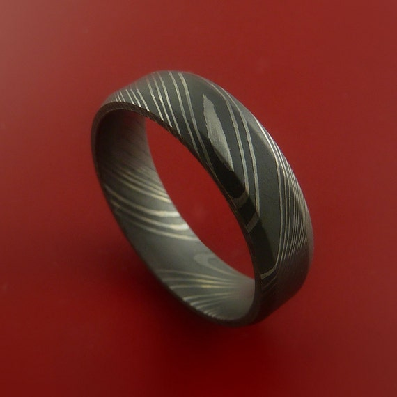 Damascus Steel Ring Acid Finish Wedding Band