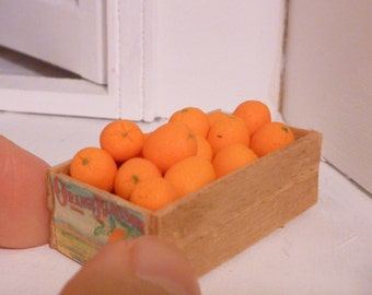 Miniature Dollhouse Oranges Wooden Box Crate