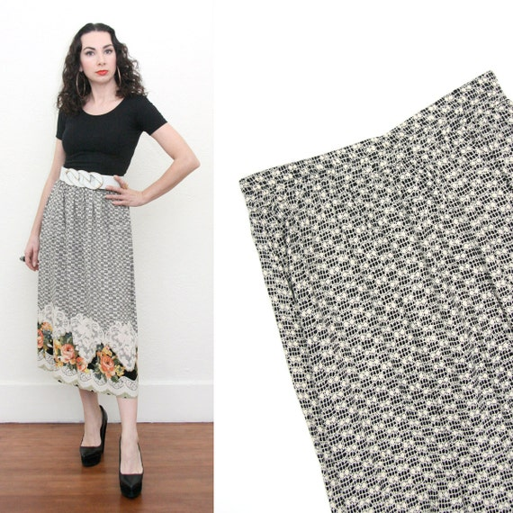 Vintage 90s Revival Baroque Floral and Lace Print Maxi High Waist Skirt Small Ornate Opulent Hipster