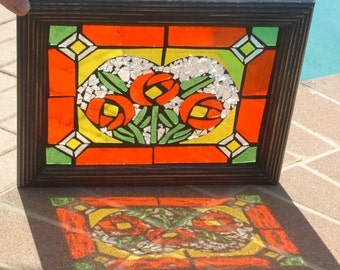 Stained Glass Mosaic Frameables Orange Floral Heart Repurpose Frame