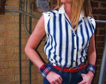 Vintage 1970s 1980s NAUTICAL Striped Navy and White Resort Blouse Top