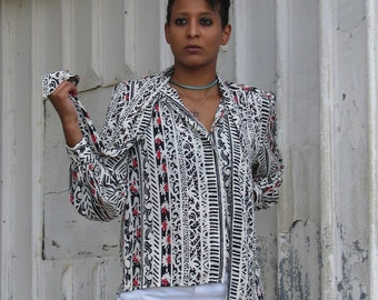 Vintage 1980s SECRETARY Print Tie Front FLORAL Blouse