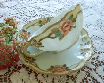 Vintage Nippon Bibi Back Stamp Hand Painted Teacup And Saucer With Moriage Beading and Raised Gold Accents Free Shipping