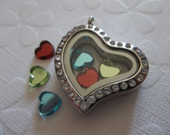 Rhinestone & Silver Locket Heart Shape Glass Front and Back 32mm - Showcase Your Treasures Floating Locket - Qty 1