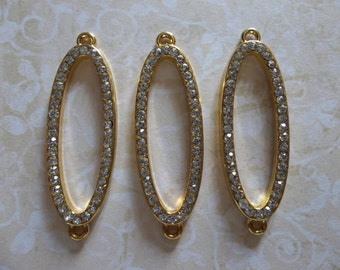 Jewelry Connectors - Large Gold Open Ovals with Clear Rhinestones - 40 x 13mm - 3 pieces