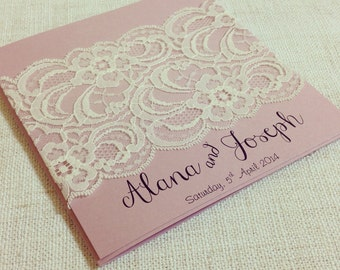 Ivory and pink Vintage Lace Wedding Invitation x 50