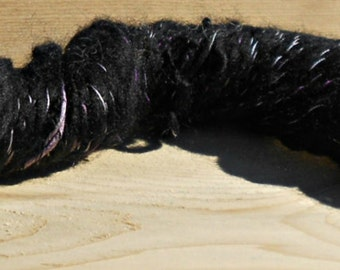 Handspun Corriedale Black Yarn With Purple Silk Highlights: Lenore
