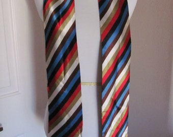 SALE!! Lovely 2 Layer Striped Satin Poly Sah Tie Scarf - 4.5 x 62 Long