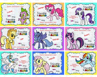 Printable DIY Personalized Pony Friends Theme Valentine Cards for kids -  ADD NAMES, change wording