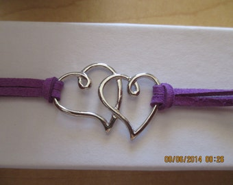 Double Hearts with Purple Faux Suede Band Bracelet