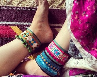 Boho Anklet Bracelets Set of 3 - Chose Your Design - Free Size - Adjustable to any size