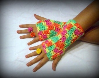 Neon Fingerless Texting Boho Gloves Multi color handmade arm warmers fingerless Mittens funky psychedelic fun warm crocheted stitch hipster