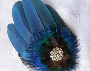 Blue Polly -  Macaw Feather Fascinator or Brooch