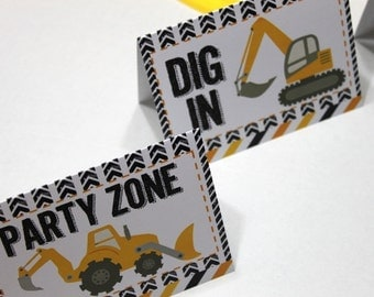 Construction party, menu card, tent card (4) - Dig In, Fuel Up, Construction Zone, Party Zone, candy buffet, birthday party, baby shower