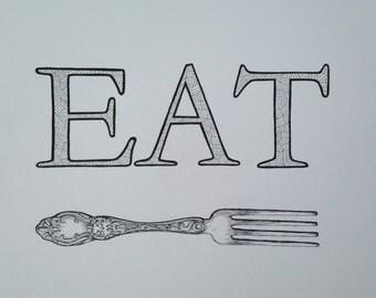 11x15 Eat Kitchen Print