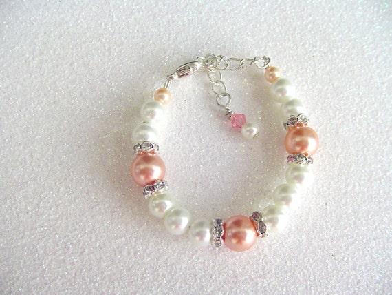 Baby Bracelet, Peach Bracelet, Swarovski Bracelet, Baptism Gift, Birthday Gift, Mother Day Gift, Flower Girl, Free US Shipping