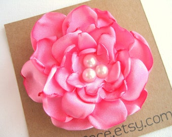Satin Flower Hair Clip  -  Bubblegum Pink
