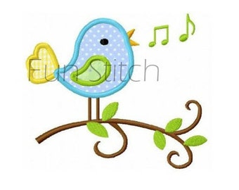 Singing bird applique machine embroidery design