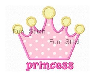 Princess crown applique machine embroidery design