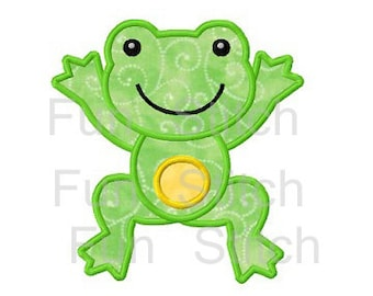 Jumping frog applique machine embroidery design