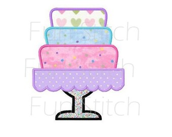 Tiered cake applique machine embroidery design
