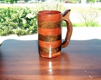 Handcrafted Wood Mug Walnut Mahogany 12oz Mix  Wood Beer Stein, Wood Tankard, Drinking Vessel, Wood Beer Mug, Stein