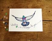 Pigeon Art Print, Messenger Pigeon Illustration