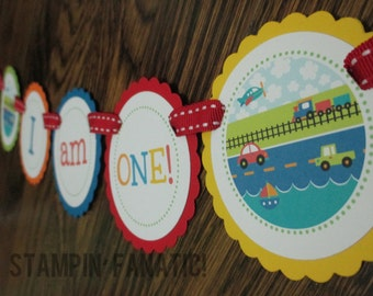 READY to SHIP Transportation Collection: High Chair Banner. I am One banner.  First Birthday Banner. Cars Planes Trains Boats