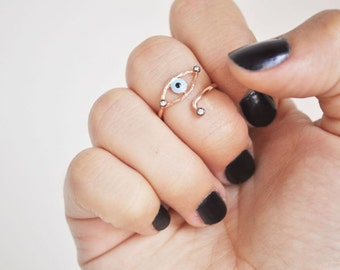 evil eye knuckle ring with stones