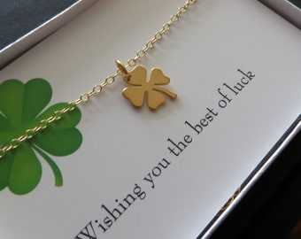 Shamrock necklace, Lucky necklace, four leaf clover charm, best wishes card, good luck, going away gift, graduation